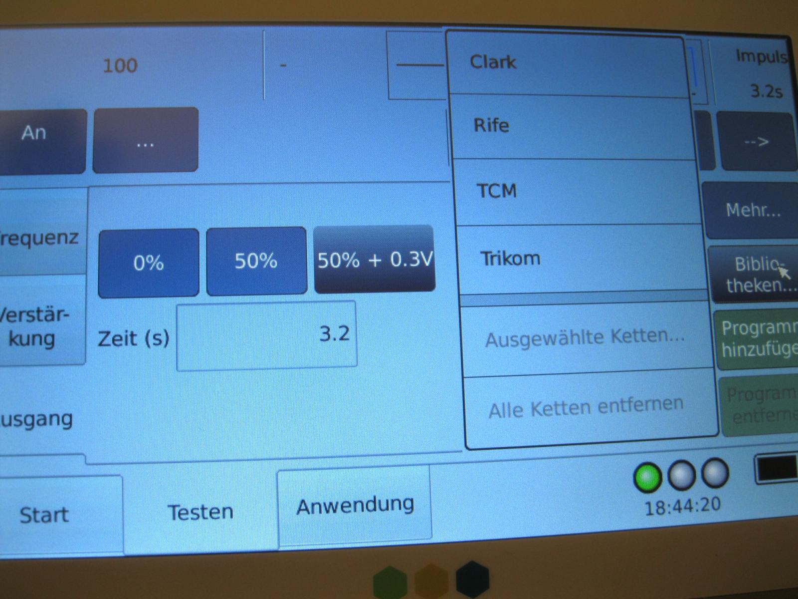 Trikombin-Clark-Frequenzen-Menü-Touchscreeen